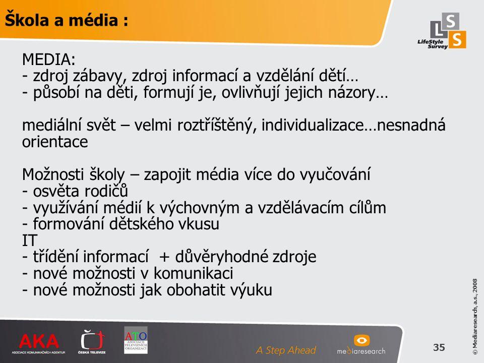 © Mediaresearch, a.s., 2008 35 MEDIA: - zdroj zábavy, zdroj informací a vzdělání dětí… - působí na děti, formují je, ovlivňují jejich názory… mediální