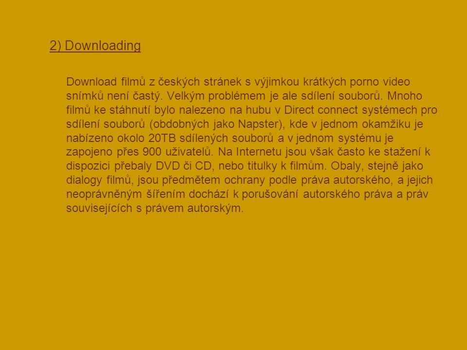  2) Downloading Download filmů z českých stránek s výjimkou krátkých porno video snímků není častý. Velkým problémem je ale sdílení souborů. Mnoho fi