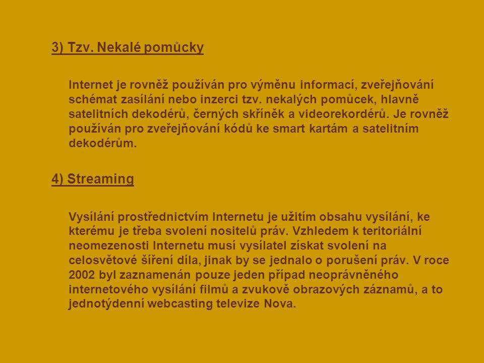  3) Tzv. Nekalé pomůcky Internet je rovněž používán pro výměnu informací, zveřejňování schémat zasílání nebo inzerci tzv. nekalých pomůcek, hlavně sa