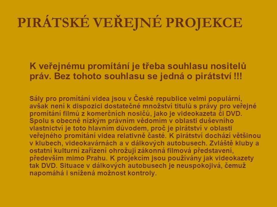  K veřejnému promítání je třeba souhlasu nositelů práv. Bez tohoto souhlasu se jedná o pirátství !!!  Sály pro promítání videa jsou v České republic