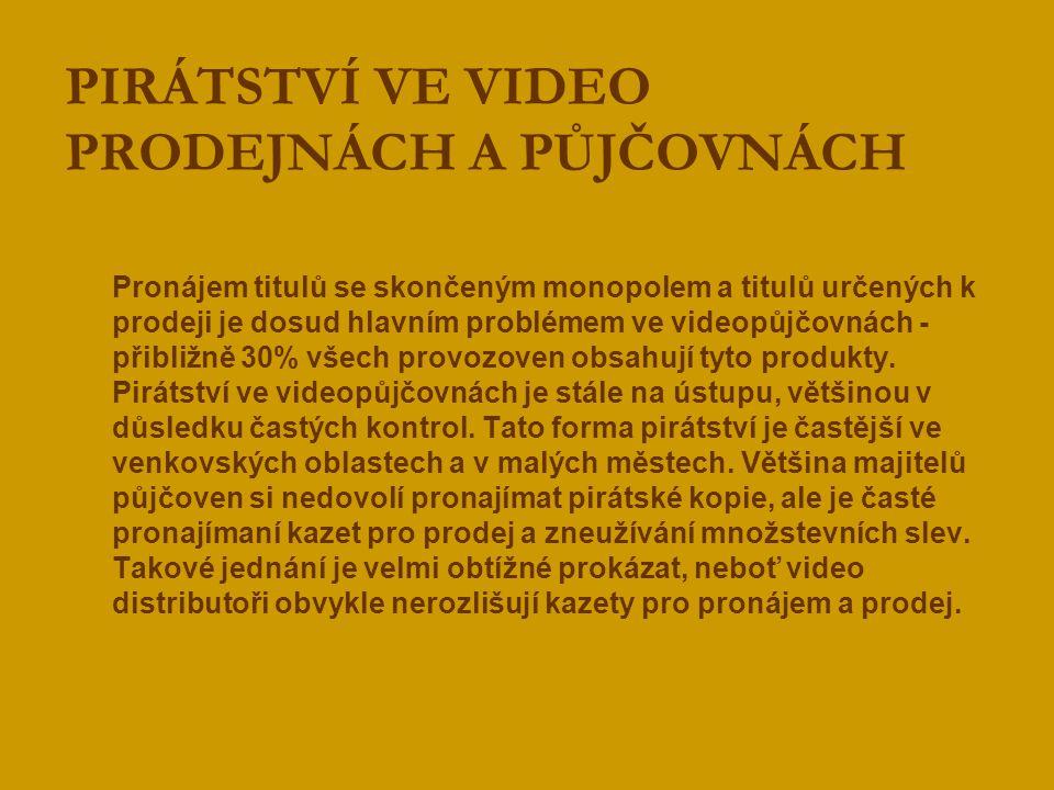 Seznam videopůjčoven, kde bylo zjištěno porušování autorských práv  EUROMOVIES, Chrudimská 2b, Praha 3  LARK, kpt.