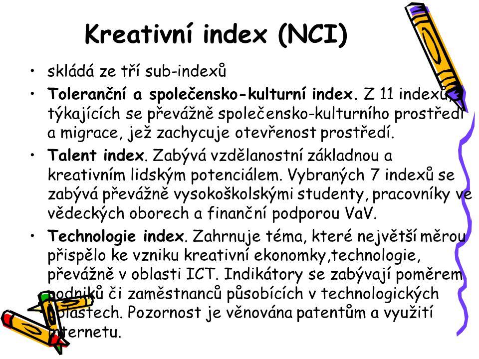 Kreativní index (NCI) •skládá ze tří sub-indexů •Toleranční a společensko-kulturní index.