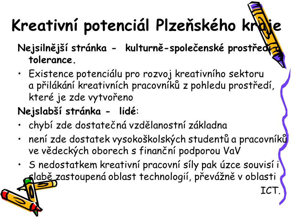 Kreativní index (NCI) 2009 a 2010