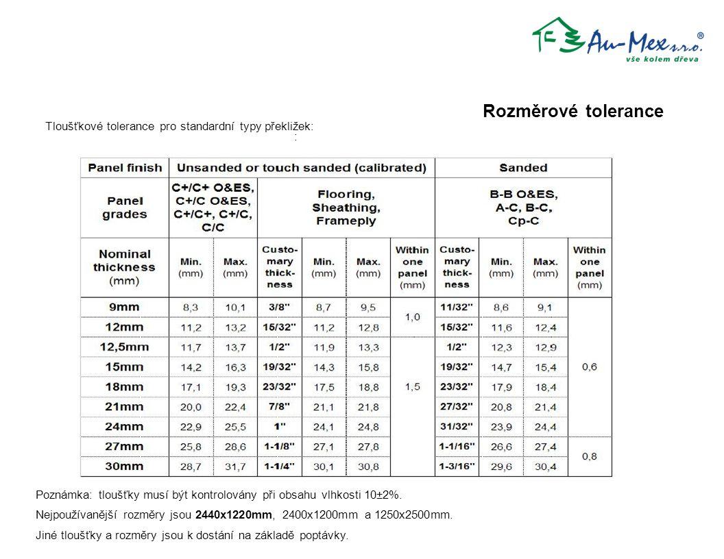 : Poznámka: tloušťky musí být kontrolovány při obsahu vlhkosti 10±2%. Nejpoužívanější rozměry jsou 2440x1220mm, 2400x1200mm a 1250x2500mm. Jiné tloušť