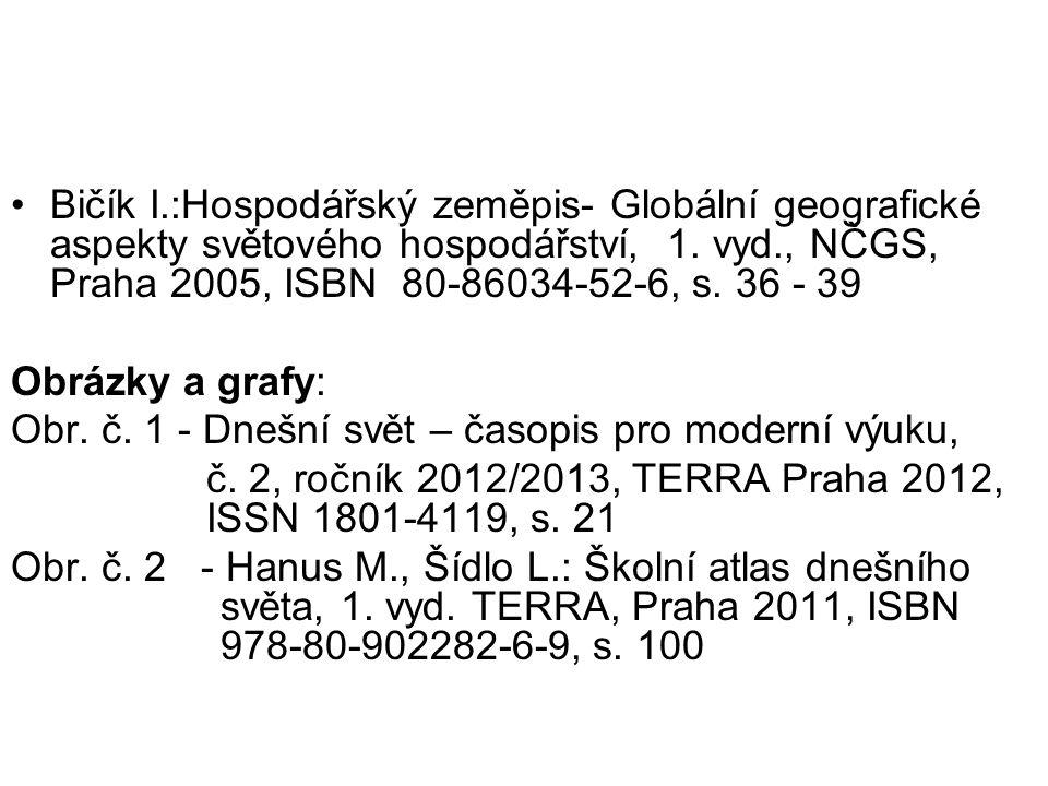 •Bičík I.:Hospodářský zeměpis- Globální geografické aspekty světového hospodářství, 1.