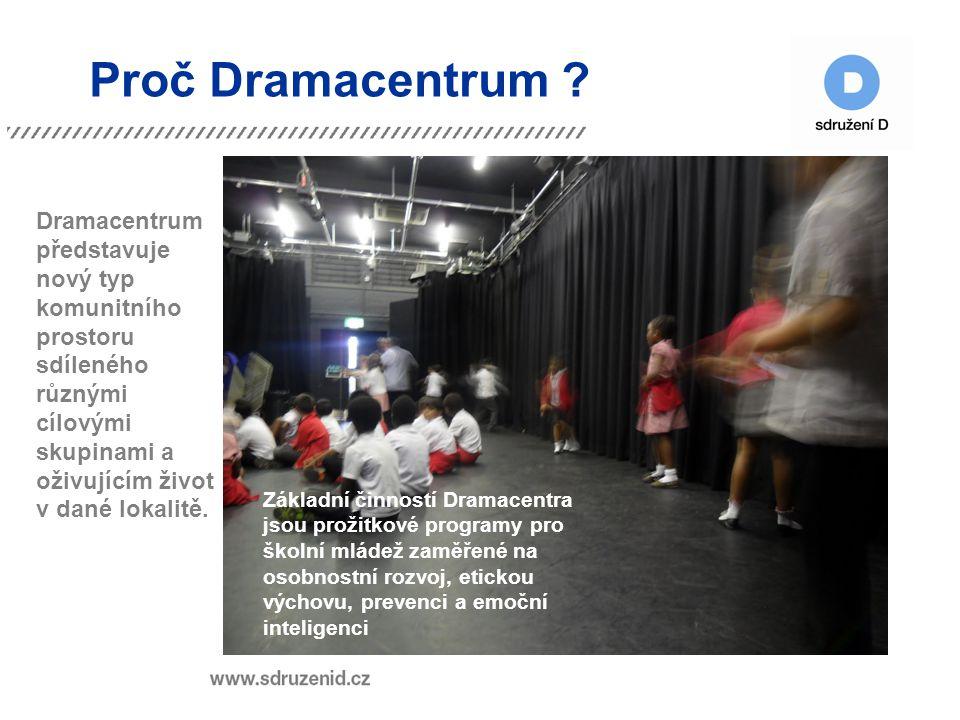 Proč Dramacentrum ? Dramacentrum představuje nový typ komunitního prostoru sdíleného různými cílovými skupinami a oživujícím život v dané lokalitě. Zá