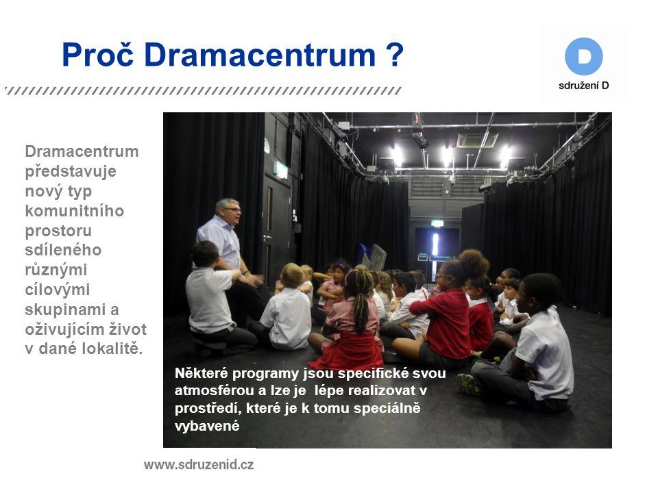 Proč Dramacentrum ? Dramacentrum představuje nový typ komunitního prostoru sdíleného různými cílovými skupinami a oživujícím život v dané lokalitě. Ně