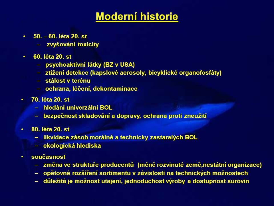 Moderní historie •50. – 60. léta 20. st – zvyšování toxicity •60. léta 20. st –psychoaktivní látky (BZ v USA) –ztížení detekce (kapslové aerosoly, bic