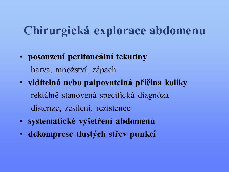 Chirurgická explorace abdomenu •posouzení peritoneální tekutiny barva, množství, zápach •viditelná nebo palpovatelná příčina koliky rektálně stanovená