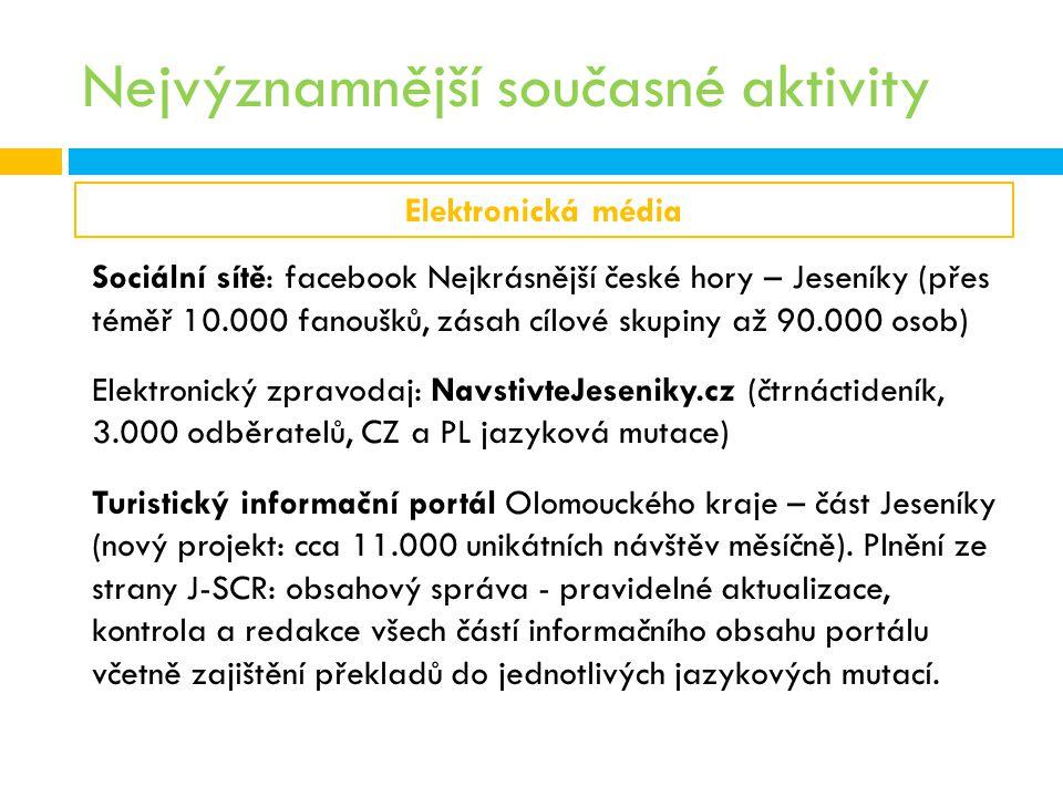 Nejvýznamnější současné aktivity Elektronická média Sociální sítě: facebook Nejkrásnější české hory – Jeseníky (přes téměř 10.000 fanoušků, zásah cílo