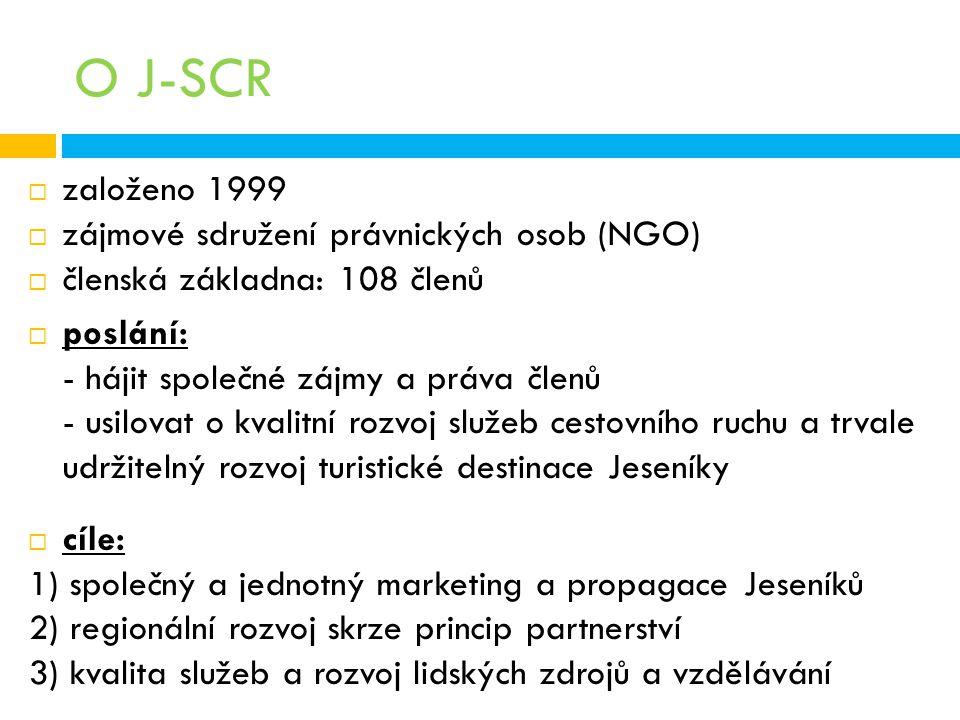 O J-SCR  založeno 1999  zájmové sdružení právnických osob (NGO)  členská základna: 108 členů  poslání: - hájit společné zájmy a práva členů - usil