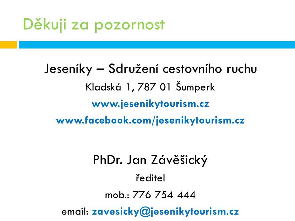 Děkuji za pozornost Jeseníky – Sdružení cestovního ruchu Kladská 1, 787 01 Šumperk www.jesenikytourism.cz www.facebook.com/jesenikytourism.cz PhDr. Ja