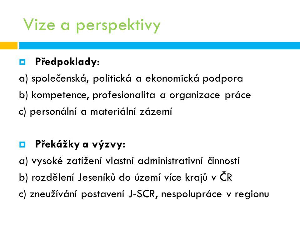 Vize a perspektivy  Předpoklady: a) společenská, politická a ekonomická podpora b) kompetence, profesionalita a organizace práce c) personální a mate