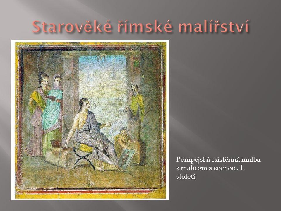 Pompejská nástěnná malba s malířem a sochou, 1. století
