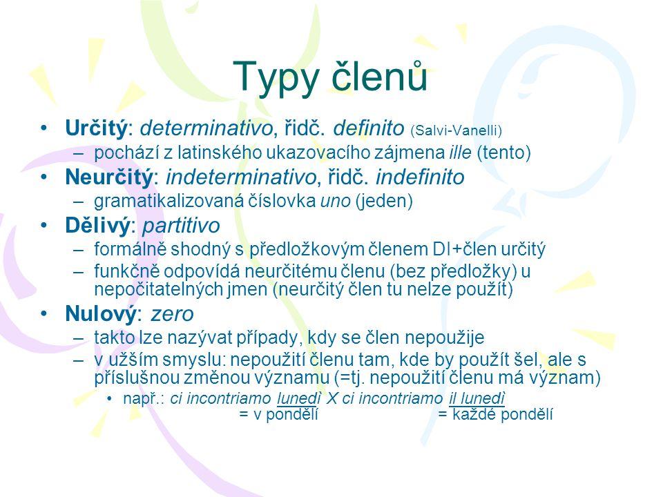 Tvary členů DeterminativoIndeterminativoPartitivo SingolarePluraleSingolarePluraleSingolare M il, lo, l ' i, gliun, uno-, dei, degli -, del, dello, dell ' F la, l ' le una, un ' -, delle, dell ' -, della, dell ' • Pomlčka (-) označuje, že v daném případě lze člen zcela vypustit, aniž by to ovlivnilo význam • Základní tvary jsou vyznačeny tučně, ostatní jsou poziční alomorfy (uplatňují se v případě, že následuje určitá specifická hláska / hlásky) – viz.