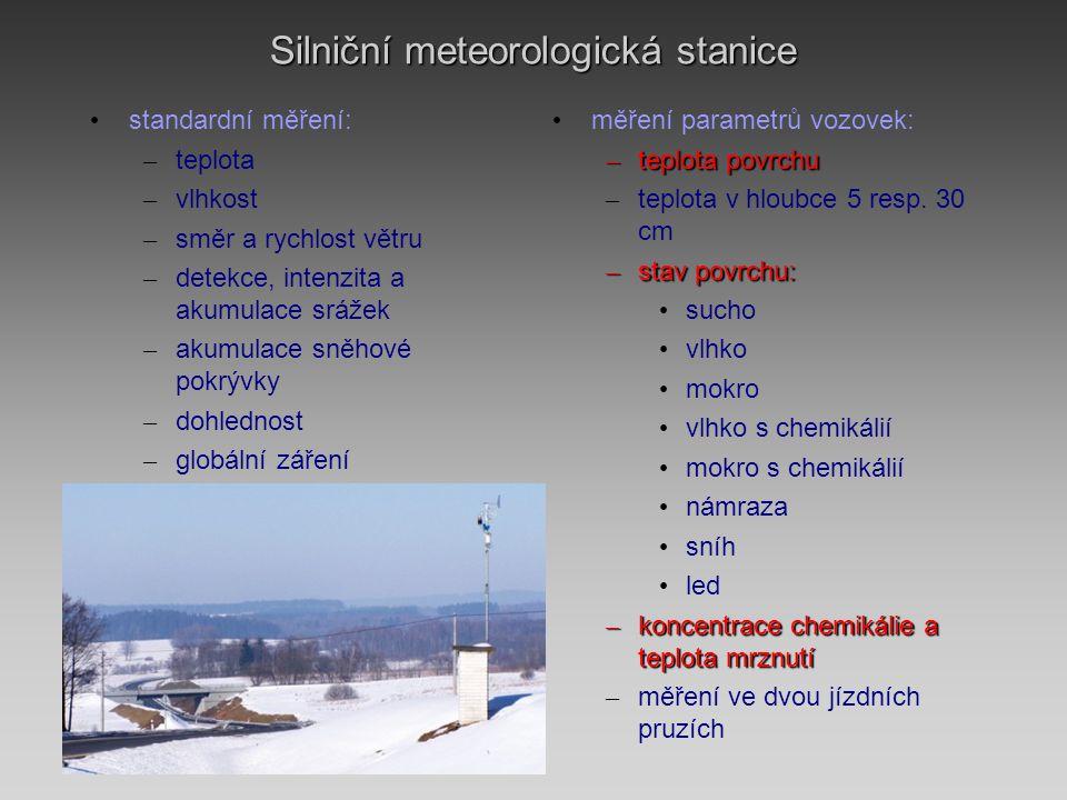 Silniční meteorologická stanice • standardní měření: – teplota – vlhkost – směr a rychlost větru – detekce, intenzita a akumulace srážek – akumulace sněhové pokrývky – dohlednost – globální záření • měření parametrů vozovek: – teplota povrchu – teplota v hloubce 5 resp.
