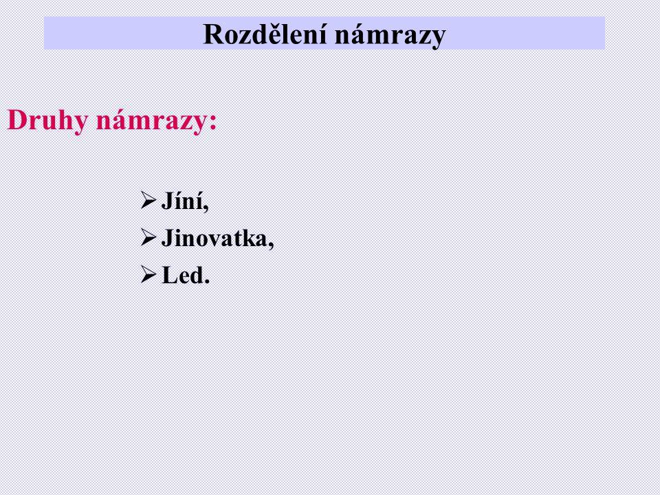 Rozdělení námrazy Druhy námrazy:  Jíní,  Jinovatka,  Led.