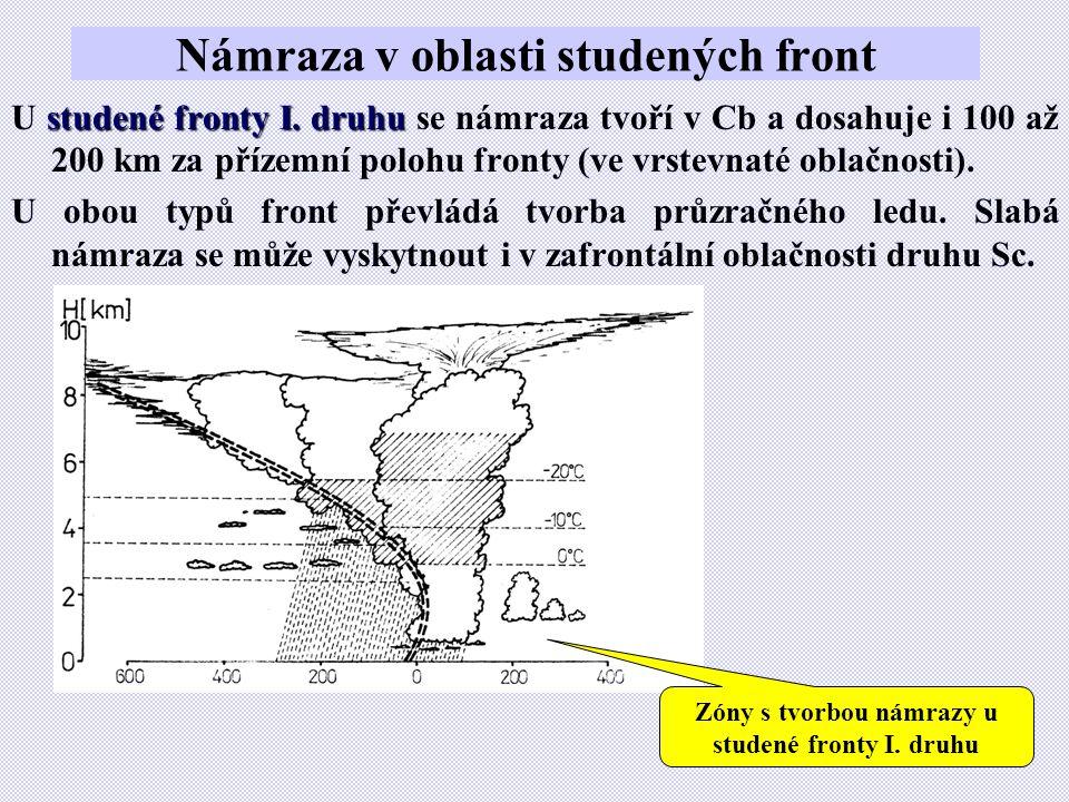 Námraza v oblasti studených front studené fronty I. druhu U studené fronty I. druhu se námraza tvoří v Cb a dosahuje i 100 až 200 km za přízemní poloh