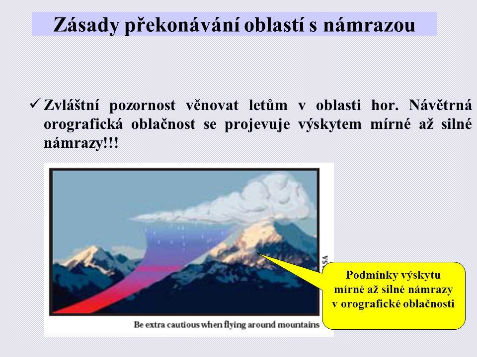 Zásady překonávání oblastí s námrazou  Zvláštní pozornost věnovat letům v oblasti hor. Návětrná orografická oblačnost se projevuje výskytem mírné až