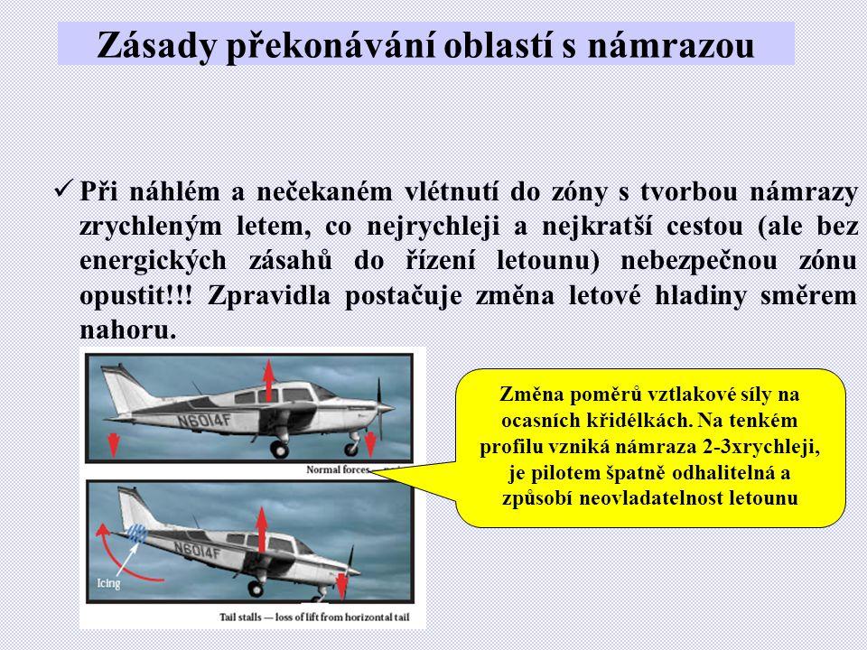 Zásady překonávání oblastí s námrazou  Při náhlém a nečekaném vlétnutí do zóny s tvorbou námrazy zrychleným letem, co nejrychleji a nejkratší cestou (ale bez energických zásahů do řízení letounu) nebezpečnou zónu opustit!!.