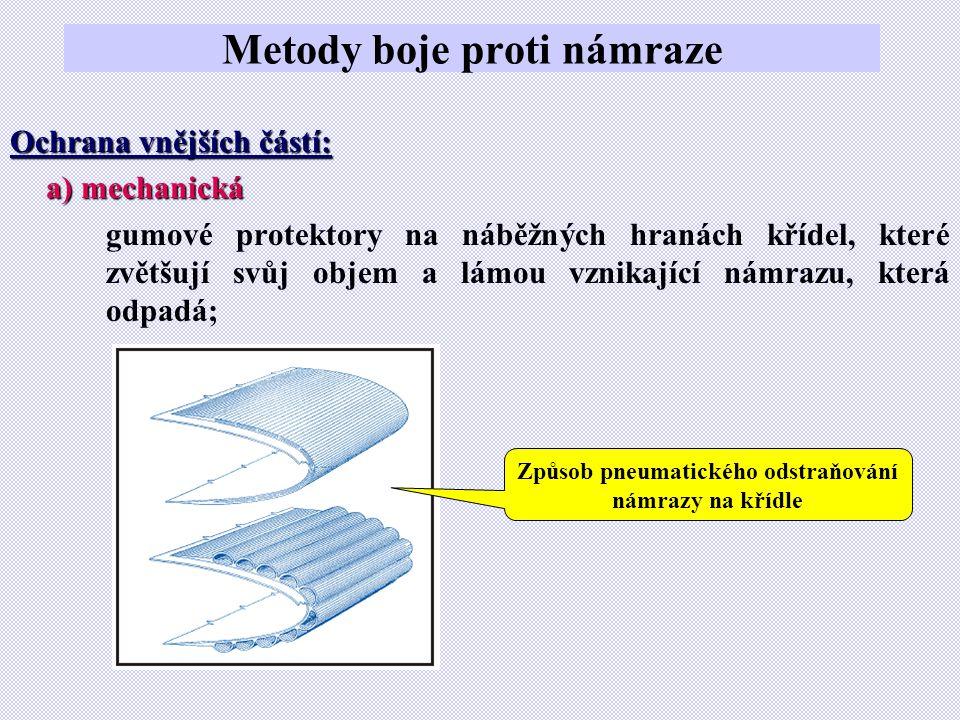Metody boje proti námraze Ochrana vnějších částí: a) mechanická gumové protektory na náběžných hranách křídel, které zvětšují svůj objem a lámou vznikající námrazu, která odpadá; Způsob pneumatického odstraňování námrazy na křídle