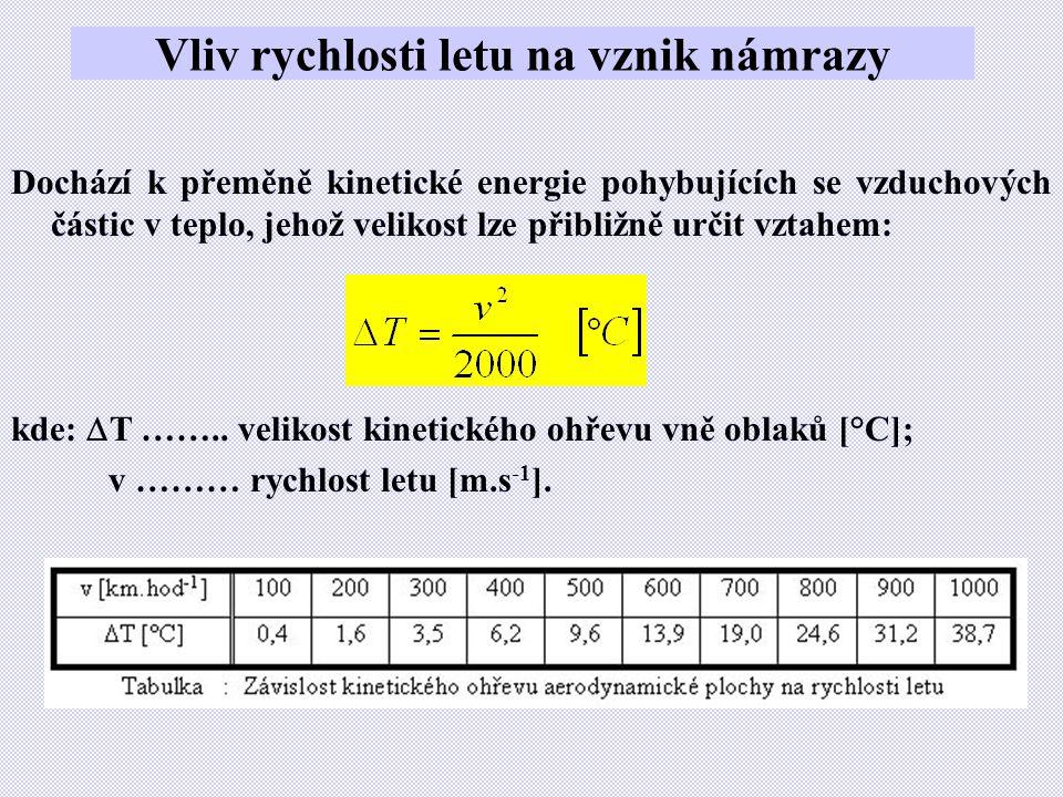 Vliv rychlosti letu na vznik námrazy Dochází k přeměně kinetické energie pohybujících se vzduchových částic v teplo, jehož velikost lze přibližně určit vztahem: kde:  T ……..