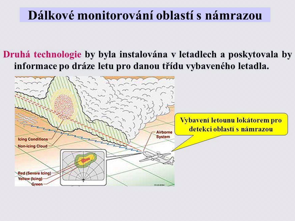 Dálkové monitorování oblastí s námrazou Druhá technologie by byla instalována v letadlech a poskytovala by informace po dráze letu pro danou třídu vyb