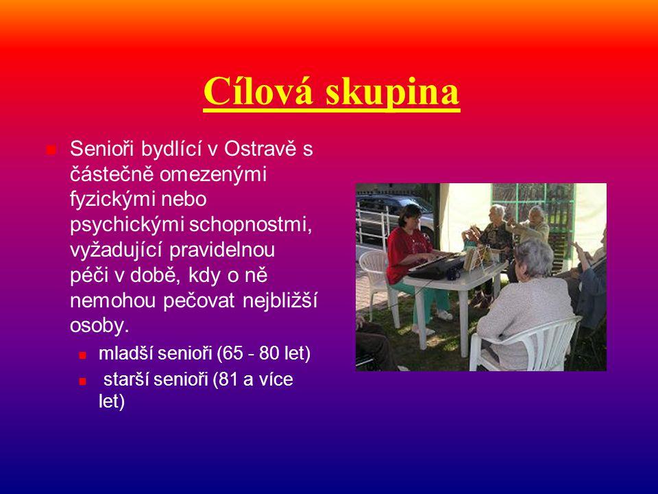 Cílová skupina  Senioři bydlící v Ostravě s částečně omezenými fyzickými nebo psychickými schopnostmi, vyžadující pravidelnou péči v době, kdy o ně n