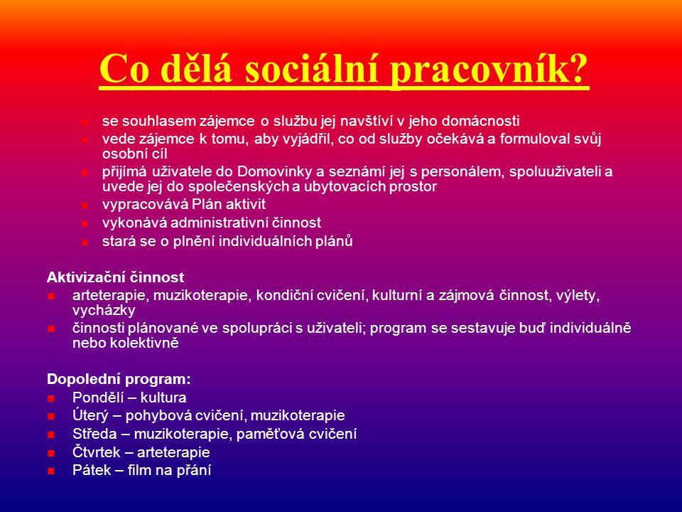 Co dělá sociální pracovník?  se souhlasem zájemce o službu jej navštíví v jeho domácnosti  vede zájemce k tomu, aby vyjádřil, co od služby očekává a