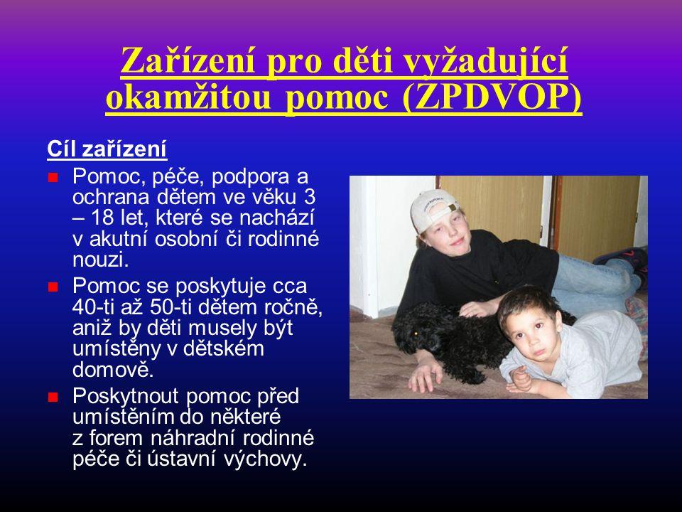 Zařízení pro děti vyžadující okamžitou pomoc (ZPDVOP) Cíl zařízení  Pomoc, péče, podpora a ochrana dětem ve věku 3 – 18 let, které se nachází v akutn