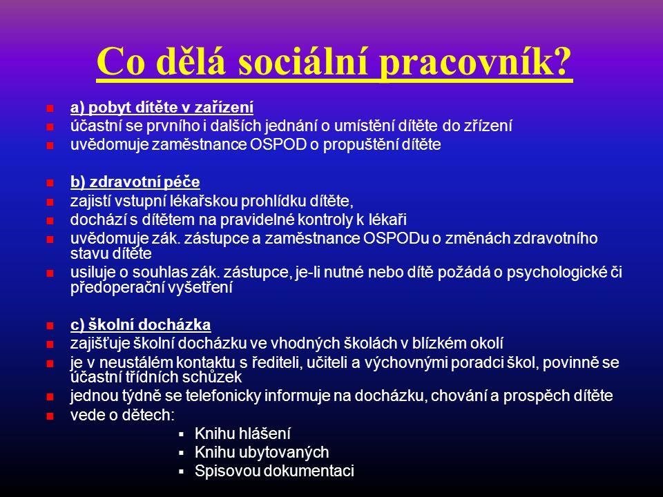 Co dělá sociální pracovník?  a) pobyt dítěte v zařízení  účastní se prvního i dalších jednání o umístění dítěte do zřízení  uvědomuje zaměstnance O