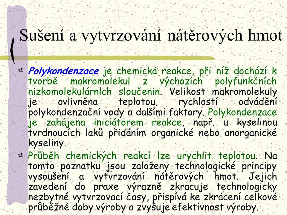 Sušení a vytvrzování nátěrových hmot Polymerace je chemická reakce, při níž dochází ke vzniku makromolekul. Reakce začíná tehdy, vytvoří-li se volný r