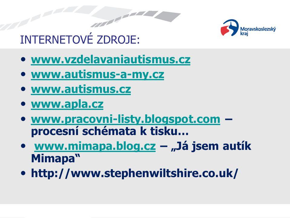 INTERNETOVÉ ZDROJE:  www.vzdelavaniautismus.cz www.vzdelavaniautismus.cz  www.autismus-a-my.cz www.autismus-a-my.cz  www.autismus.cz www.autismus.c