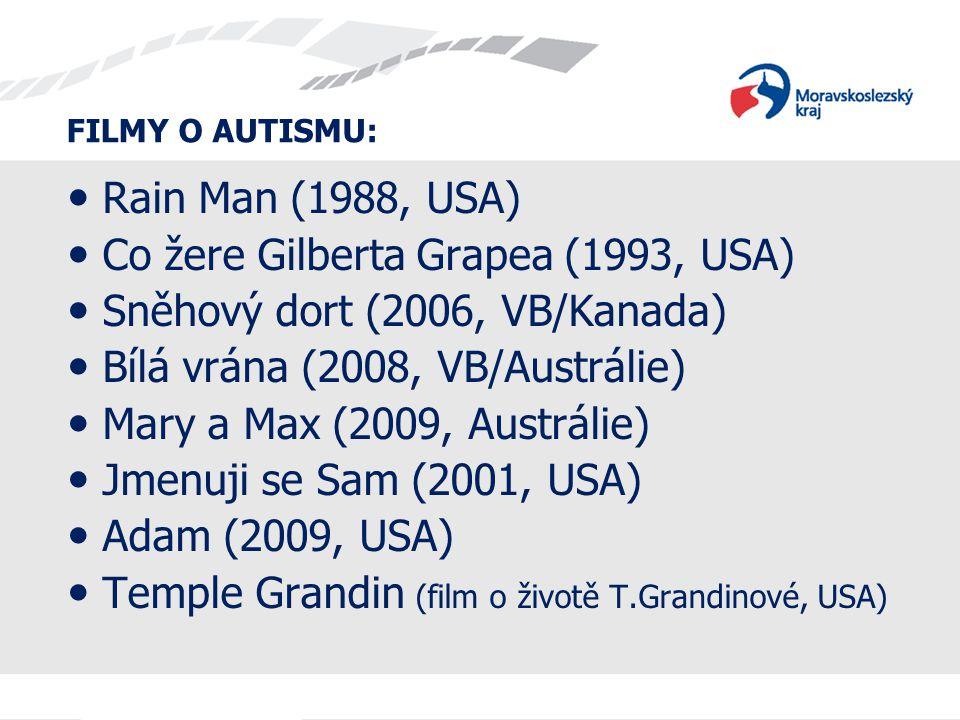 FILMY O AUTISMU:  Rain Man (1988, USA)  Co žere Gilberta Grapea (1993, USA)  Sněhový dort (2006, VB/Kanada)  Bílá vrána (2008, VB/Austrálie)  Mar