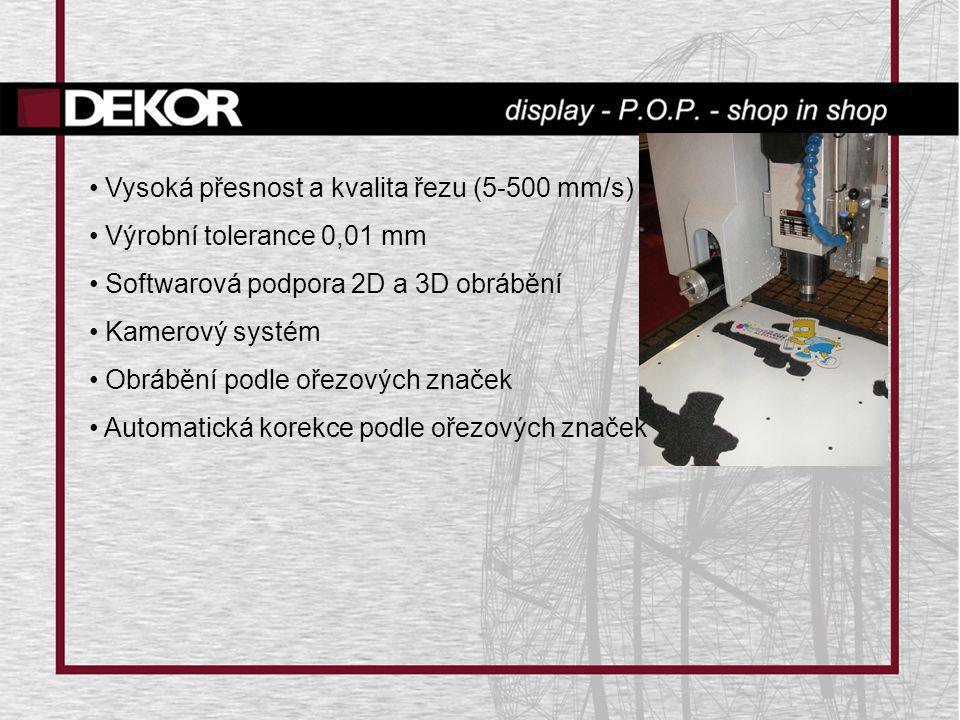 • Vysoká přesnost a kvalita řezu (5-500 mm/s) • Výrobní tolerance 0,01 mm • Softwarová podpora 2D a 3D obrábění • Kamerový systém • Obrábění podle oře