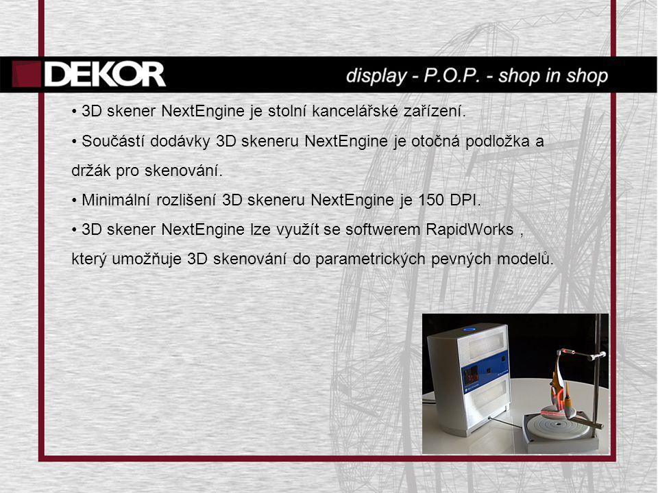 • 3D skener NextEngine je stolní kancelářské zařízení. • Součástí dodávky 3D skeneru NextEngine je otočná podložka a držák pro skenování. • Minimální