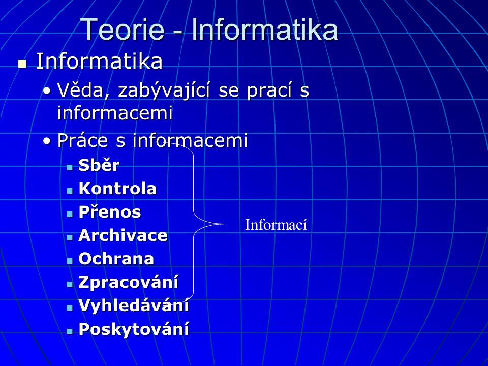 Teorie - Informatika  Informatika •Věda, zabývající se prací s informacemi •Práce s informacemi  Sběr  Kontrola  Přenos  Archivace  Ochrana  Zpracování  Vyhledávání  Poskytování Informací