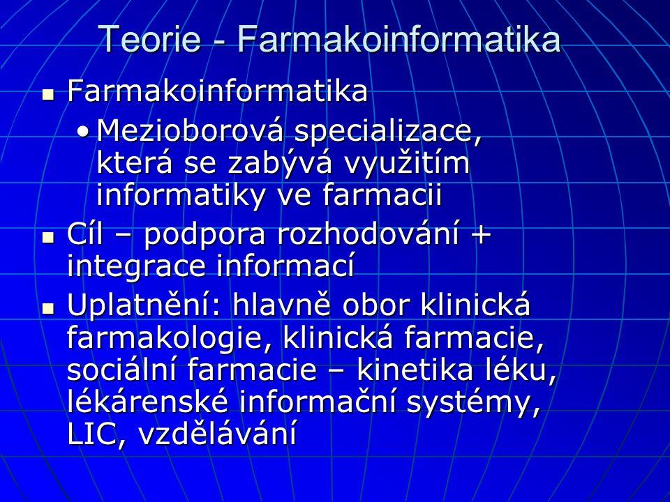 Teorie - Farmakoinformatika  Farmakoinformatika •Mezioborová specializace, která se zabývá využitím informatiky ve farmacii  Cíl – podpora rozhodování + integrace informací  Uplatnění: hlavně obor klinická farmakologie, klinická farmacie, sociální farmacie – kinetika léku, lékárenské informační systémy, LIC, vzdělávání