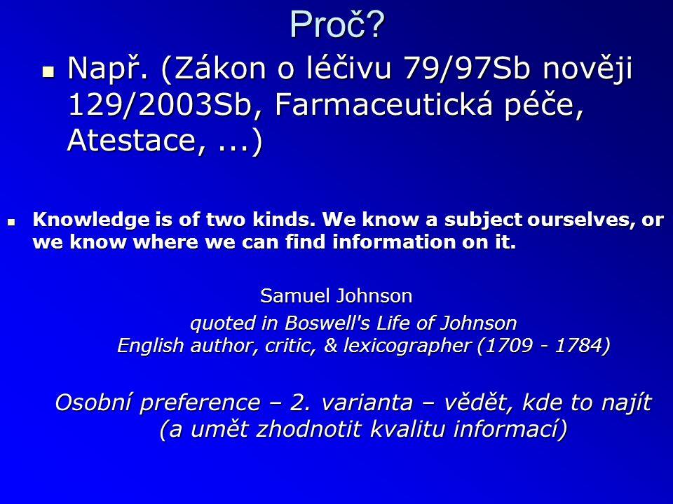 Proč?  Např. (Zákon o léčivu 79/97Sb nověji 129/2003Sb, Farmaceutická péče, Atestace,...)  Knowledge is of two kinds. We know a subject ourselves, o