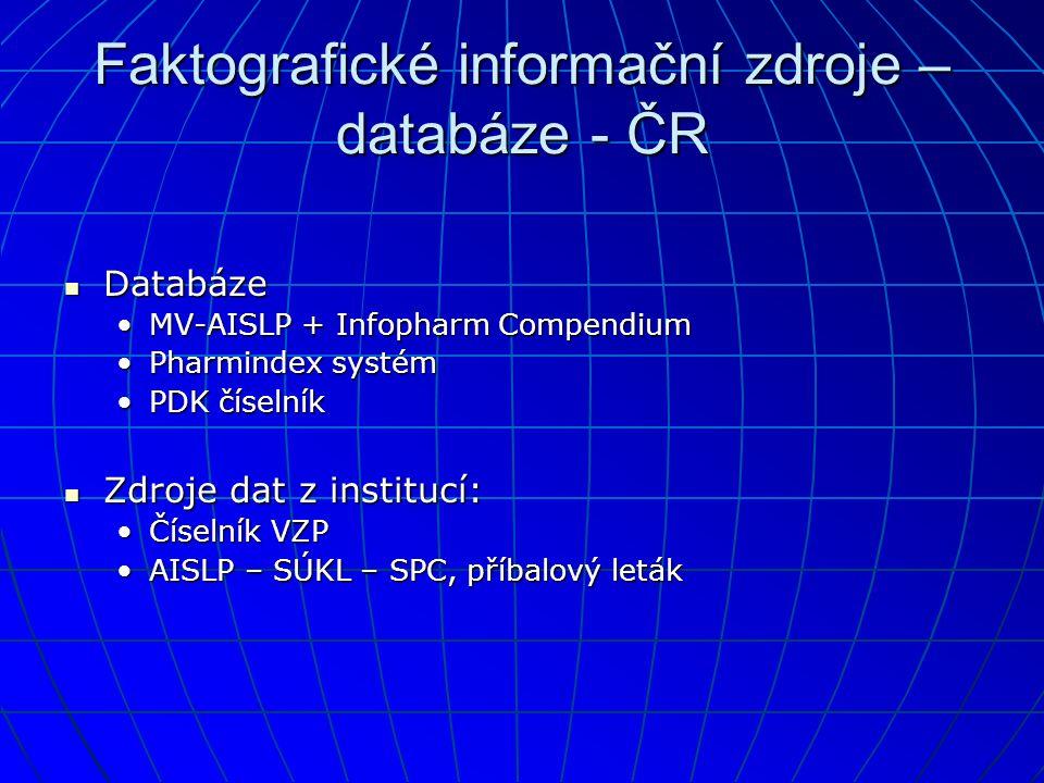 Faktografické informační zdroje – databáze - ČR  Databáze •MV-AISLP + Infopharm Compendium •Pharmindex systém •PDK číselník  Zdroje dat z institucí: •Číselník VZP •AISLP – SÚKL – SPC, příbalový leták