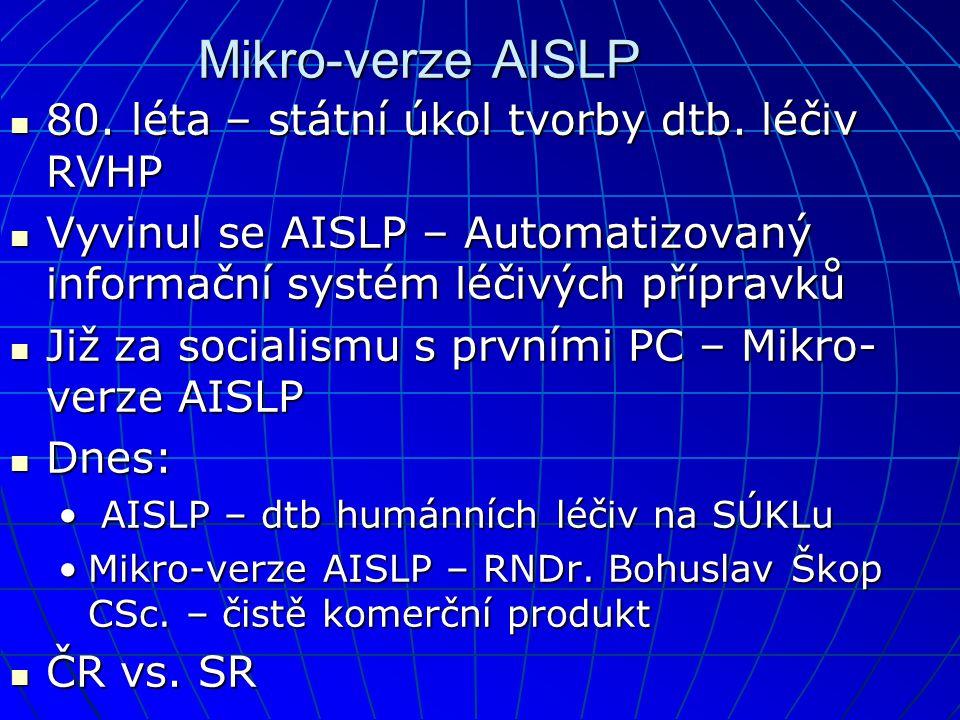 Mikro-verze AISLP  80. léta – státní úkol tvorby dtb. léčiv RVHP  Vyvinul se AISLP – Automatizovaný informační systém léčivých přípravků  Již za so