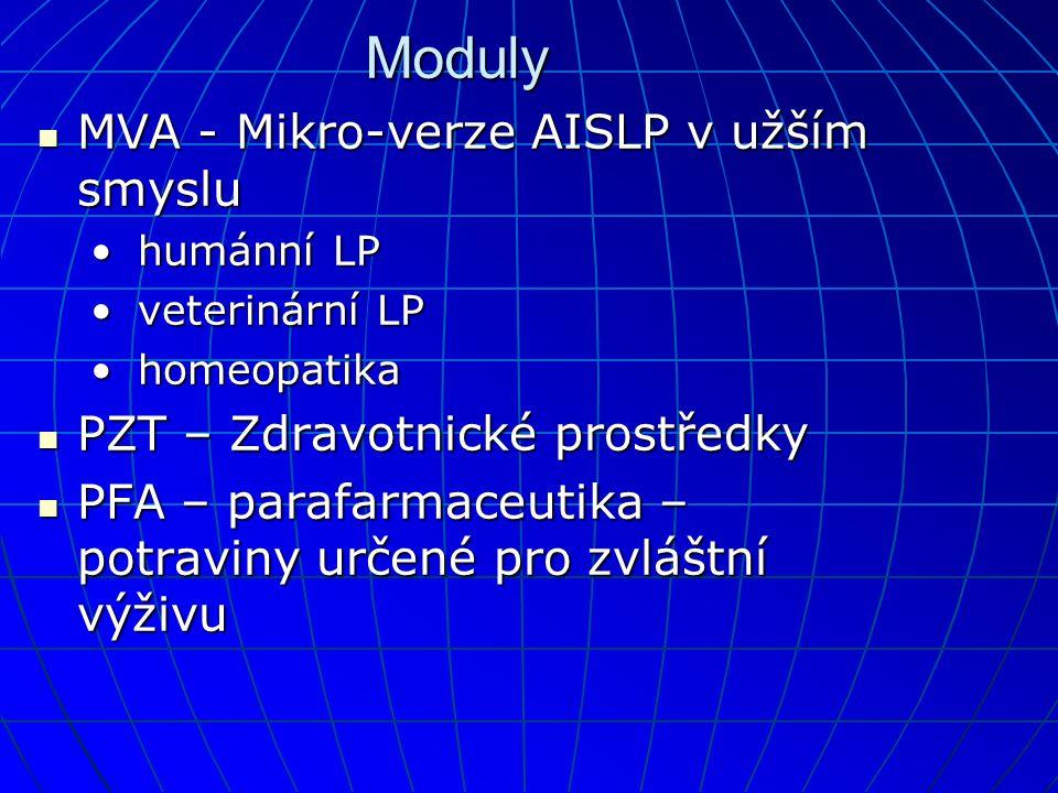 Moduly  MVA - Mikro-verze AISLP v užším smyslu • humánní LP • veterinární LP • homeopatika  PZT – Zdravotnické prostředky  PFA – parafarmaceutika – potraviny určené pro zvláštní výživu