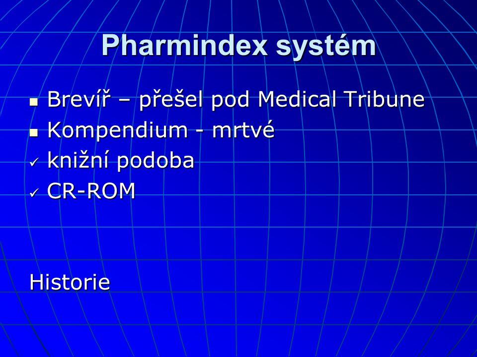 Pharmindex systém  Brevíř – přešel pod Medical Tribune  Kompendium - mrtvé  knižní podoba  CR-ROM Historie