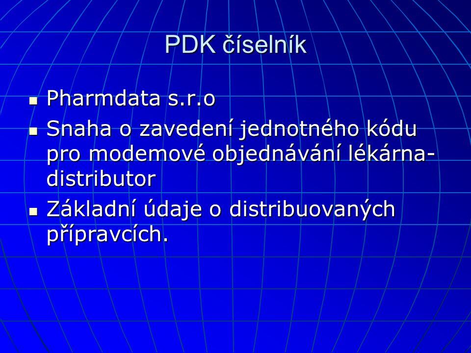PDK číselník  Pharmdata s.r.o  Snaha o zavedení jednotného kódu pro modemové objednávání lékárna- distributor  Základní údaje o distribuovaných přípravcích.
