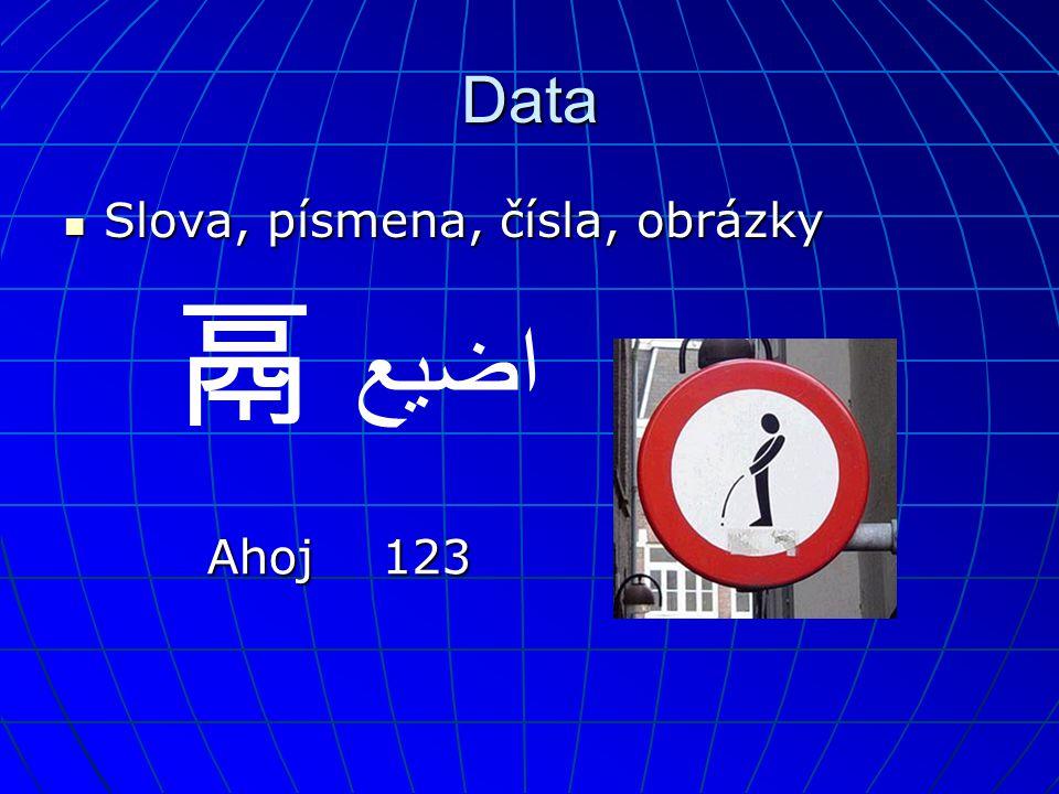 Data  Slova, písmena, čísla, obrázky 鬲 اضيع 123Ahoj
