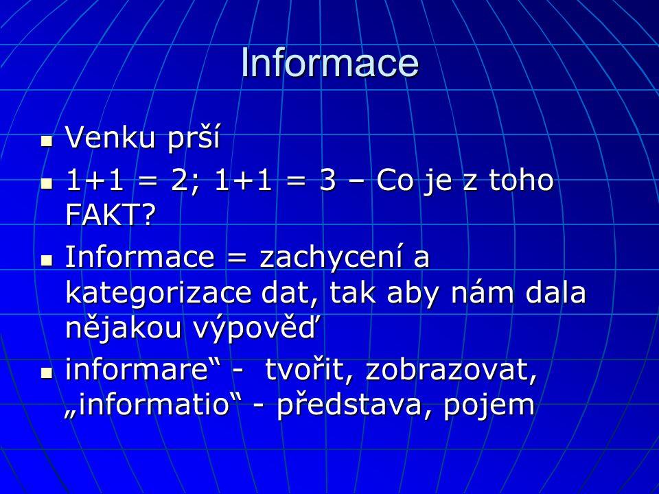 Informace  Venku prší  1+1 = 2; 1+1 = 3 – Co je z toho FAKT?  Informace = zachycení a kategorizace dat, tak aby nám dala nějakou výpověď  informar