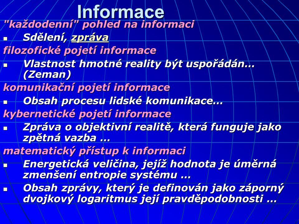 Informace každodenní pohled na informaci  Sdělení, zpráva zpráva filozofické pojetí informace  Vlastnost hmotné reality být uspořádán… (Zeman) komunikační pojetí informace  Obsah procesu lidské komunikace… kybernetické pojetí informace  Zpráva o objektivní realitě, která funguje jako zpětná vazba … matematický přístup k informaci  Energetická veličina, jejíž hodnota je úměrná zmenšení entropie systému …  Obsah zprávy, který je definován jako záporný dvojkový logaritmus její pravděpodobnosti …