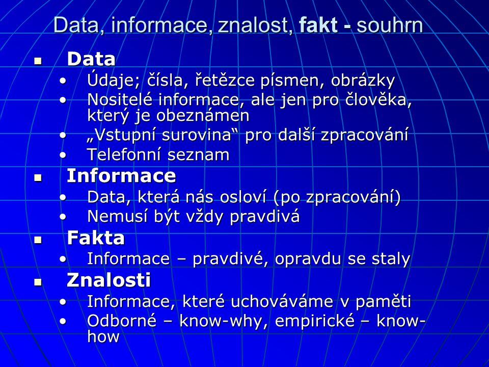 """Data, informace, znalost, fakt - souhrn  Data •Údaje; čísla, řetězce písmen, obrázky •Nositelé informace, ale jen pro člověka, který je obeznámen •""""Vstupní surovina pro další zpracování •Telefonní seznam  Informace •Data, která nás osloví (po zpracování) •Nemusí být vždy pravdivá  Fakta •Informace – pravdivé, opravdu se staly  Znalosti •Informace, které uchováváme v paměti •Odborné – know-why, empirické – know- how"""