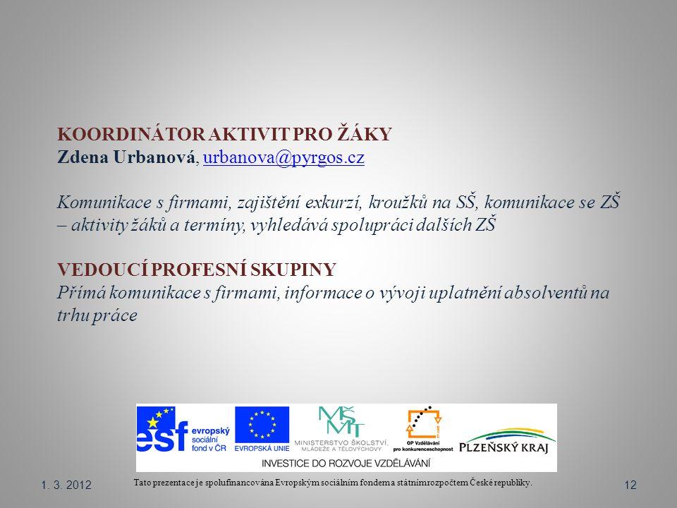 Tato prezentace je spolufinancována Evropským sociálním fondem a státním rozpočtem České republiky. KOORDINÁTOR AKTIVIT PRO ŽÁKY Zdena Urbanová, urban