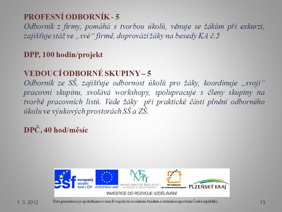 Tato prezentace je spolufinancována Evropským sociálním fondem a státním rozpočtem České republiky. PROFESNÍ ODBORNÍK - 5 Odborník z firmy, pomáhá s t